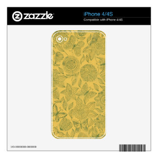Chic romantic Flower pattern,golden iPhone 4S Decal