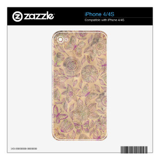 Chic romantic flower pattern,vintage look skin for iPhone 4