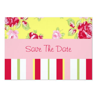 Chic Rose And Stripes Save The Date Card
