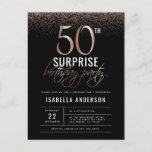 """Chic Rose Gold 50th Surprise Birthday Party Invitation Postcard<br><div class=""""desc"""">A great birthday party starts with an exciting invitation. This chic design features faux rose gold confetti and glamorous typography. The background is black to make the white and pink stand out even more! This invitation is perfect for any fabulous soon-to-be-fifty-year-old. Change the custom wording to fit your party needs....</div>"""