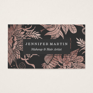 Chic Rose Gold and Black Floral Drawings Business Card
