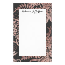 Chic Rose Gold and Black Floral Drawings Stationery