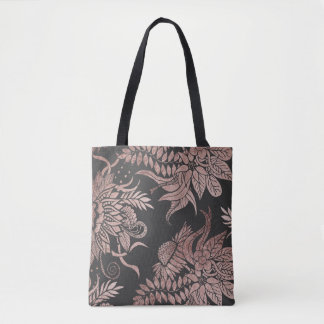 Chic Rose Gold and Black Floral Drawings Tote Bag