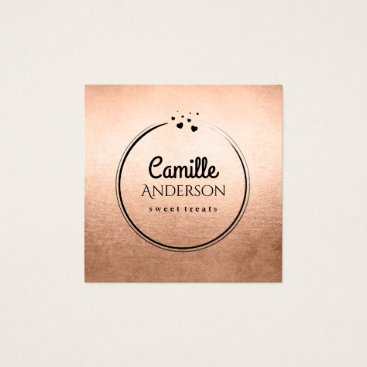 Professional Business Chic Rose Gold and Black Hearts Business Card