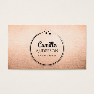 Chic Rose Gold and Black Treat Maker Business Card