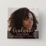 "Chic Rose Gold &amp; Black Graduation Party | Photo Button<br><div class=""desc"">&quot;Chic Rose Gold &amp; Black Graduation Party 