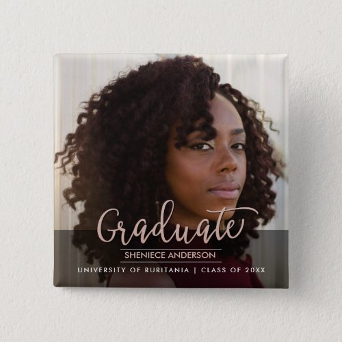 Chic Rose Gold  Black Graduation Party  Photo Button