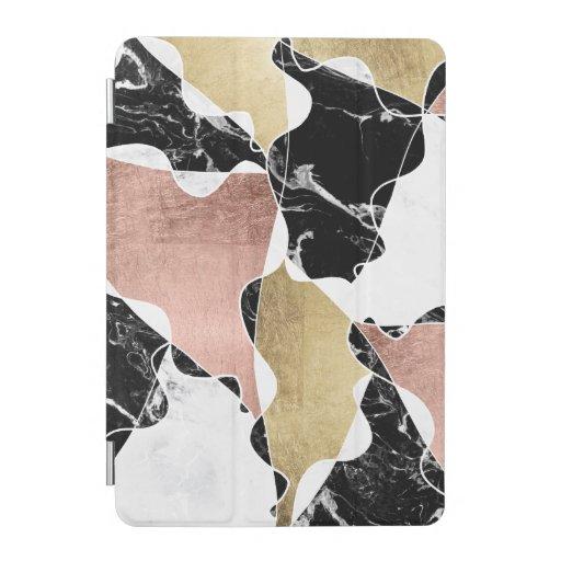 Black Gold Marble Blocks : Chic rose gold black white marble color block ipad mini