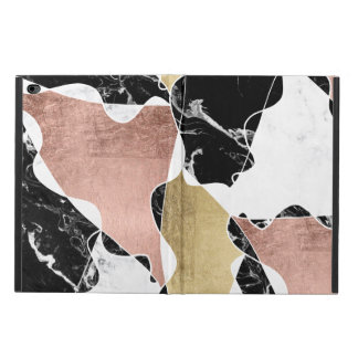 Chic rose gold black white marble color block powis iPad air 2 case