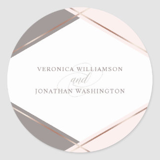 Chic Rose Gold & Blush Pink Geometric Wedding Classic Round Sticker