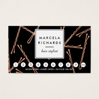 Chic Rose Gold Bobby Pins Hair Salon Black Loyalty Business Card