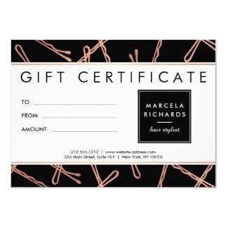 Chic Rose Gold Bobby Pins Hair Stylist Black Gift Card