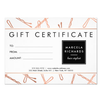Chic Rose Gold Bobby Pins Hair Stylist Gift Card