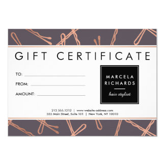 Chic Rose Gold Bobby Pins Hair Stylist Gray Gift Card
