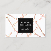 Chic Rose Gold Bobby Pins Hair Stylist Salon Business Card