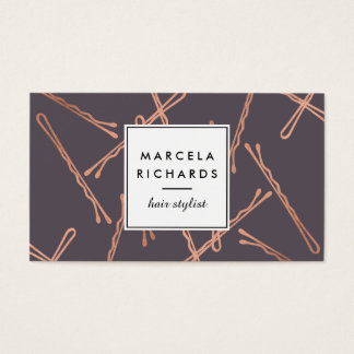Chic Rose Gold Bobby Pins Hair Stylist Salon Gray Business Card