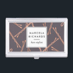 """Chic Rose Gold Bobby Pins Hair Stylist Salon Gray Case For Business Cards<br><div class=""""desc"""">Coordinates with the Chic Rose Gold Bobby Pins Hair Stylist Salon Gray Business Card Template by 1201AM. A fun and eye-catching design of falling faux rose gold bobby pins create an intriguing background on this personalized business card holder for hair stylists. &#169; 1201AM CREATIVE</div>"""