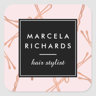 Chic Rose Gold Bobby Pins Hair Stylist Salon Pink Square Sticker