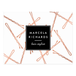 Chic Rose Gold Bobby Pins Hair Stylist Salon Postcard