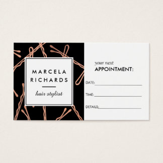 Chic Rose Gold Bobby Pins on Black Appointment Business Card