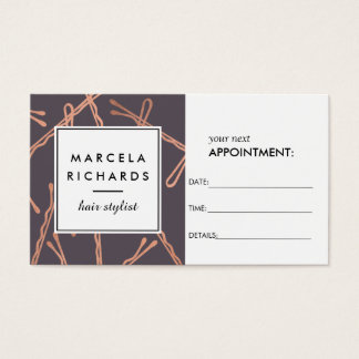 Chic Rose Gold Bobby Pins on Gray Appointment Business Card