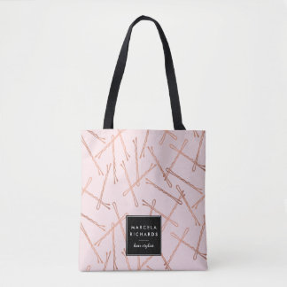 Chic Rose Gold Bobby Pins Pink Personalized Tote Bag