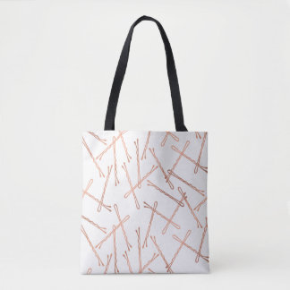 Chic Rose Gold Bobby Pins White Tote Bag