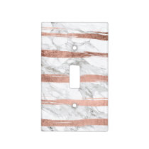 Chic rose gold brush strokes stripes white marble light switch cover