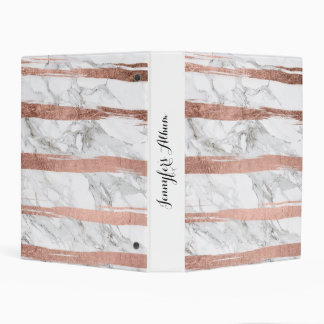Chic rose gold brush strokes stripes white marble mini binder