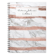 Chic rose gold brush strokes stripes white marble notebook