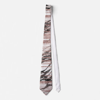 Chic Rose Gold Brushstrokes on Black White Marble Neck Tie