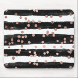 """Chic rose gold confetti black watercolor stripes mouse pad<br><div class=""""desc"""">An elegant,  chic and glam faux rose gold foil confetti and polka dots on a hand painted black watercolor stripes. The white color background is fully customizable</div>"""
