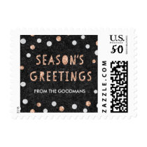 Chic Rose Gold Confetti Dots Custom Holiday Postage