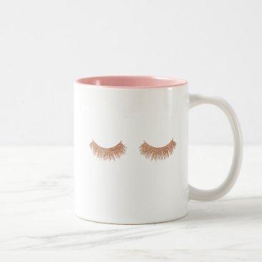 Coffee Themed Chic Rose Gold Eyelashes Coffee Mug