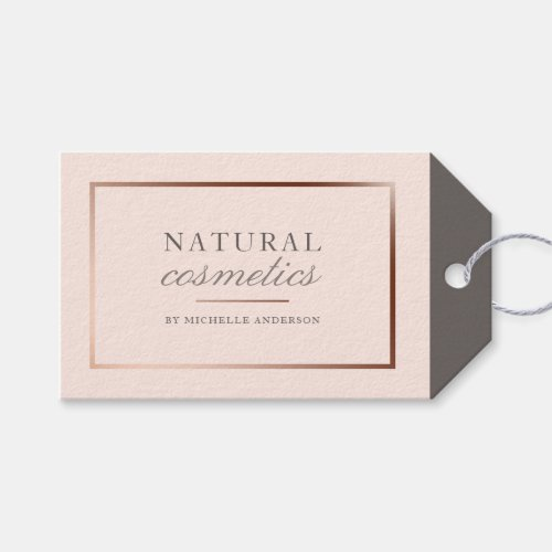 Chic Rose Gold Foil  Blush Pink Natural Cosmetics Gift Tags