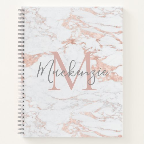 Chic Rose Gold Foil Marble Monogram Notebook