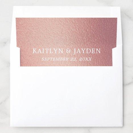 Chic Rose Gold Foil Wedding Envelope Liner