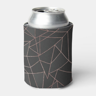 Chic Rose Gold Geometric Outline on Black Charcoal Can Cooler