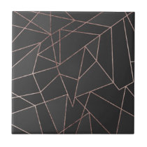Chic Rose Gold Geometric Outline on Black Charcoal Ceramic Tile
