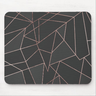 Chic Rose Gold Geometric Outline on Black Charcoal Mouse Pad