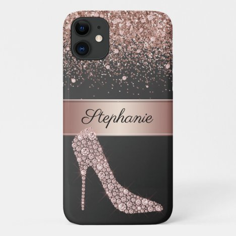 Chic Rose Gold Glitter Diamond High Heel Shoe Name iPhone 11 Case