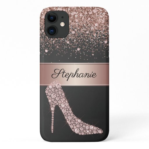 Chic Rose Gold Glitter Diamond High Heel Shoe Name iPhone 11 Case