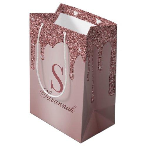 Chic Rose Gold Glitter Drips Sparkle Monogram Medium Gift Bag