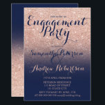 """Chic rose gold glitter navy blue engagement party invitation<br><div class=""""desc"""">Chic faux rose gold glitter navy blue engagement party invitation suite collection. A modern,  pretty faux rose gold glitter shower ombre with navy blue color block with gold ombre pattern fading.Perfect for glamor,  chic and elegant wedding theme</div>"""