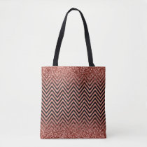Chic Rose Gold Glitter Ombre Modern Chevron Girly Tote Bag