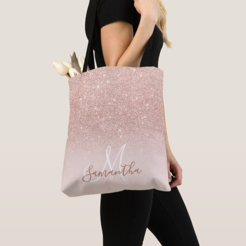 Chic rose gold glitter ombre pink block monogram tote bag