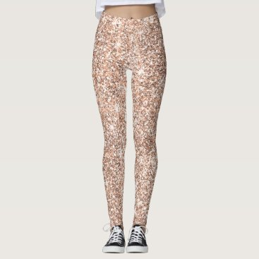 Beach Themed Chic Rose Gold Glitter Pattern Women's Fashion Leggings