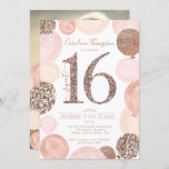 """Chic rose gold glitter pink balloon Sweet 16 photo Invitation<br><div class=""""desc"""">A modern, chic and elegant rose gold sequins sweet 16 birthday party invitation with a modern 16 typography with rose gold glitter pink balloons with hand painted pastel blush pink, rose gold glitter, sequins, pale pink cluster balloons with elegant calligraphy typography.. Add your photo at the back. Perfect for the...</div>"""