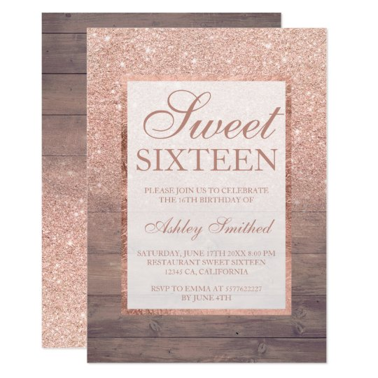 Girly Rustic Chic Bedroom: Chic Rose Gold Glitter Rustic Wood Girly Sweet 16