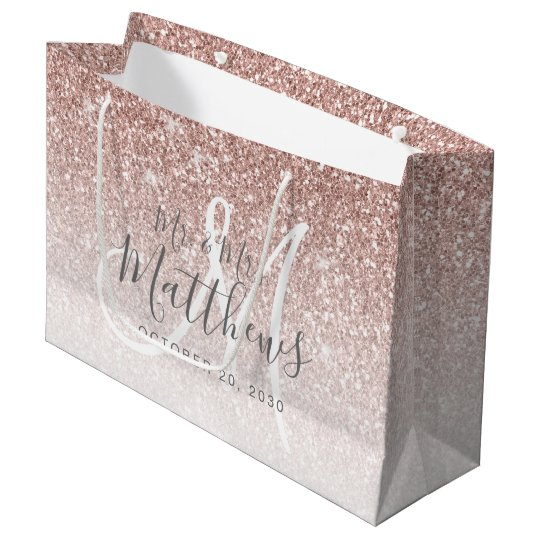 Chic Rose Gold Glitter Script Monogram Wedding Large Gift Bag